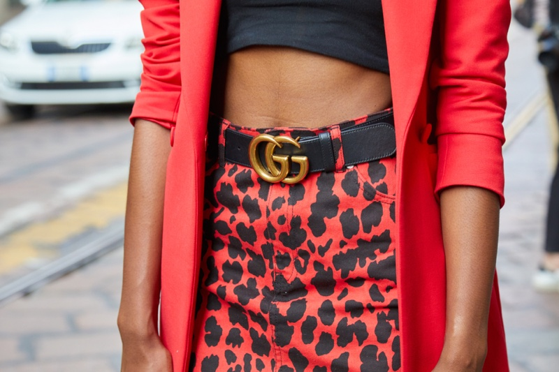 Black Woman Gucci Belt Red Cheetah Print Skirt Closeup