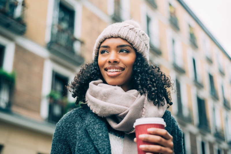 Black Woman Street Curly Hair Beanie Winter Cup