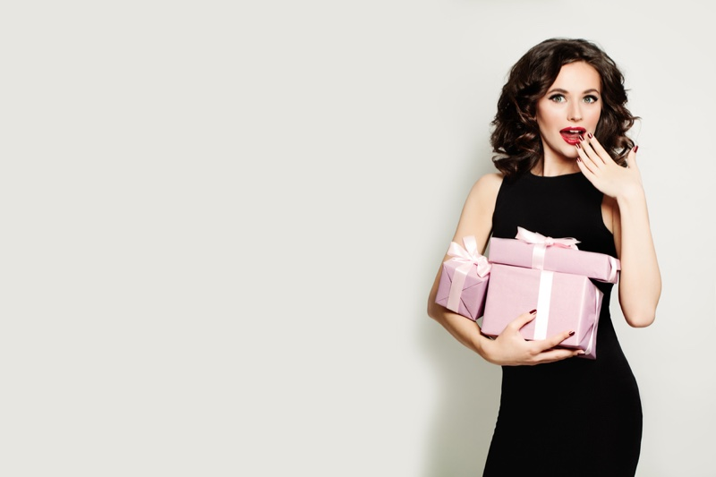 Brunette Woman Posing Pink Gift Boxes