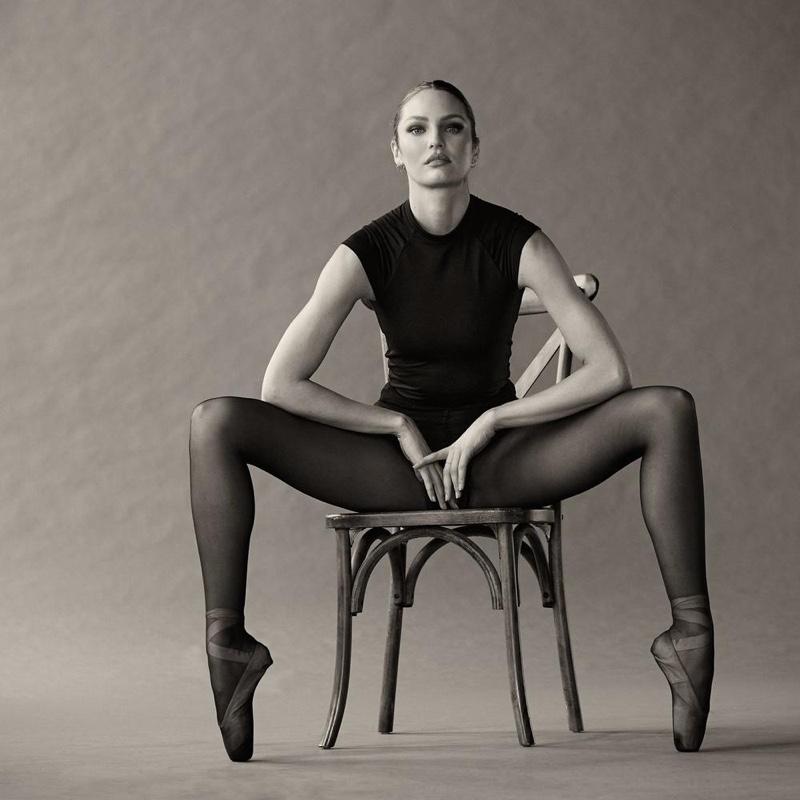 Designer Candice Swanepoel poses in Tropic of C Stage bodysuit.