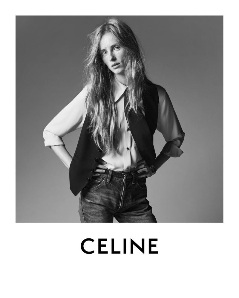Celine unveils resort 2021 campaign with model Rianne van Rompaey.