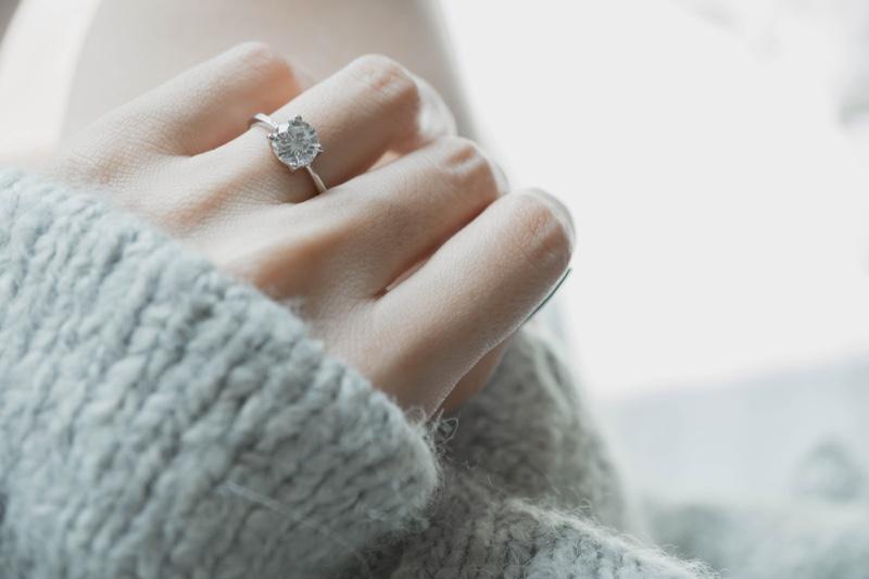 Closeup Round Diamond Engagement Ring Hand