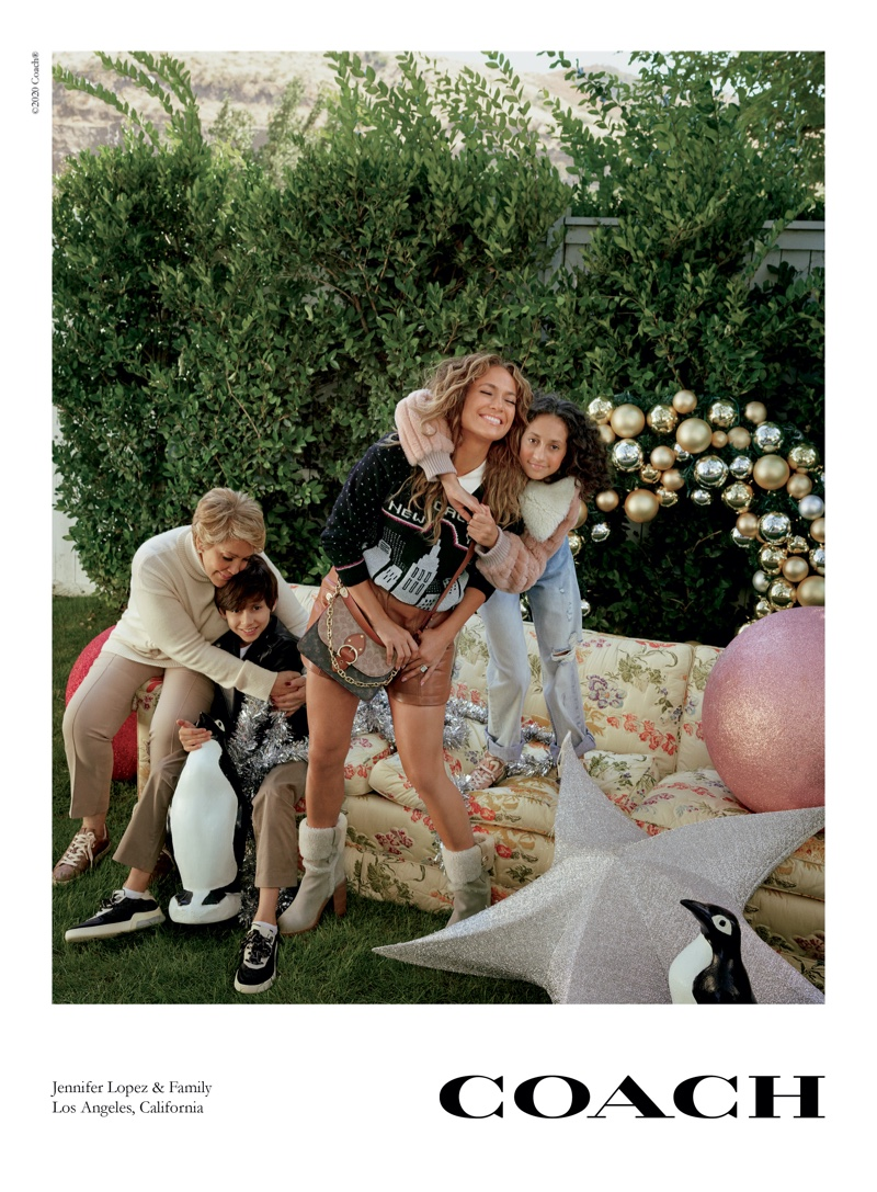 Jennifer Lopez and her family star in Coach Holiday 2020 campaign.