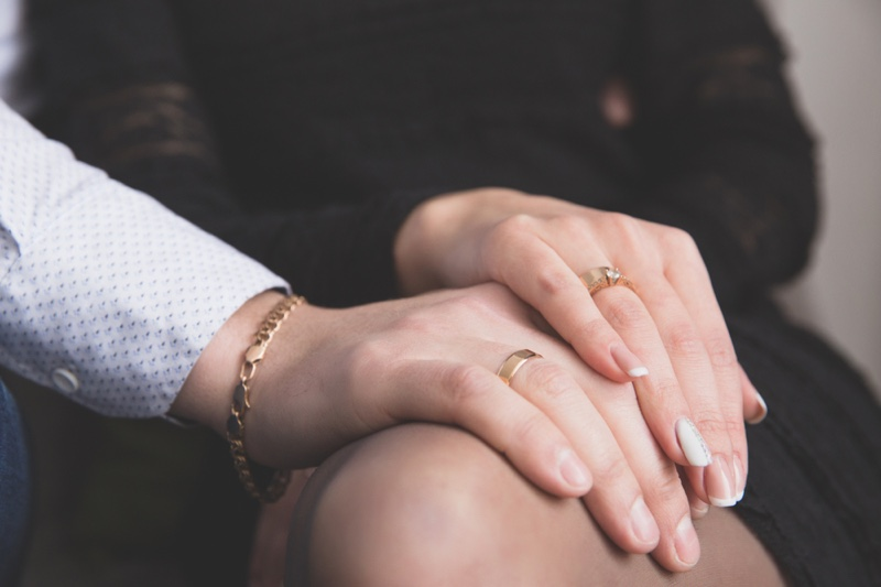 Couple Hands Embrace Gold Bracelet Man Rings