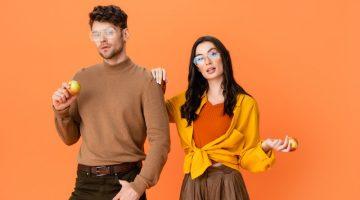 Couple Stylish Glasses Long Sleeve Shirts