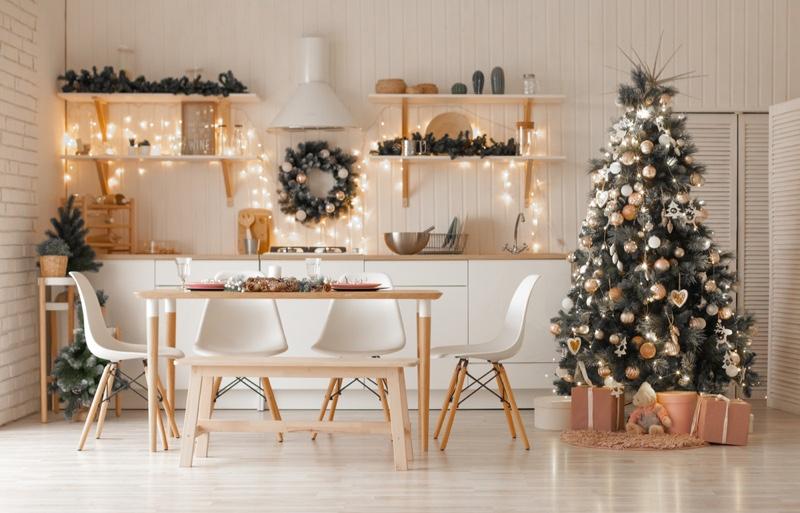 Festive Christmas Interior Light Kitchen Table