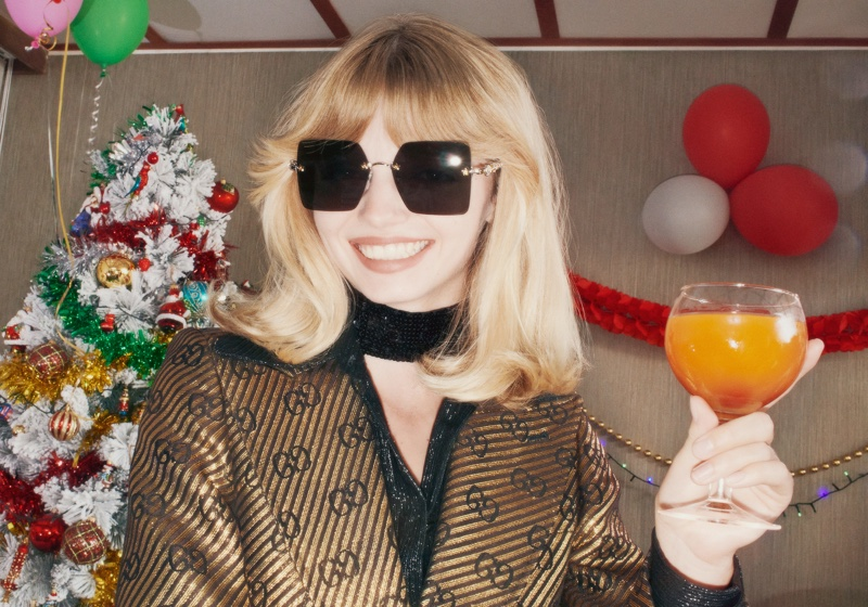 Sunglasses stand out in Gucci Holiday 2020 campaign.