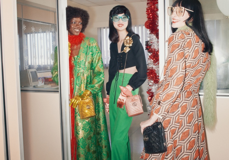 Models are all smiles in Gucci Holiday 2020 campaign.