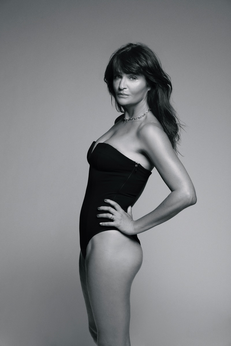 Supermodel Helena Christensen poses for ANINE BING x Helena Christensen holiday 2020 campaign.