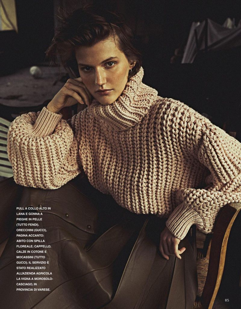Ireen Tabolova Poses in Luxe Knitwear for Grazia Italy
