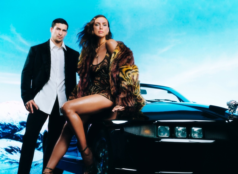 Irina Shayk and Biaggio Ali Walsh appear in Versace Holiday 2020 campaign.