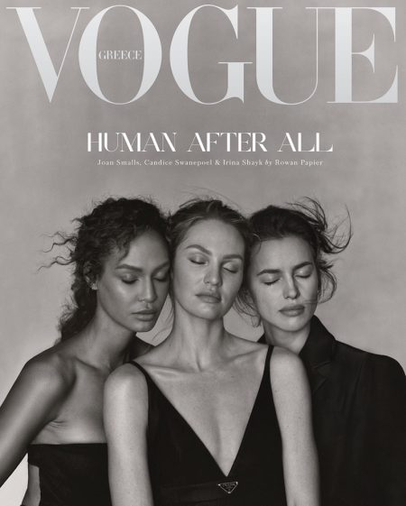Joan Smalls, Candice Swanepoel, and Irina Shayk on Vogue Greece December 2020 Cover.
