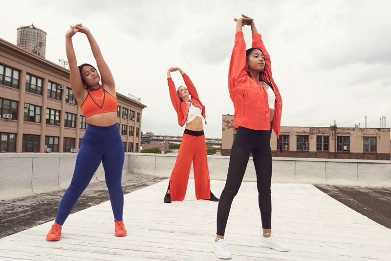 Karlie Kloss poses with  Kode by Klossy alum Alexis Williams and Elysha Ang, for adidas x Karlie Kloss campaign.