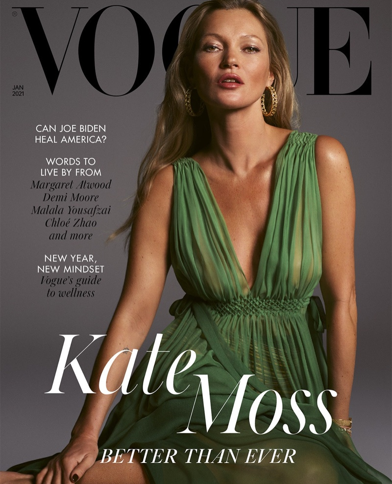 Kate Moss on Vogue UK January 2021 Cover.