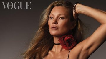 Kate Moss poses in Celine dress with Carter watch and Peter Shams corsage.