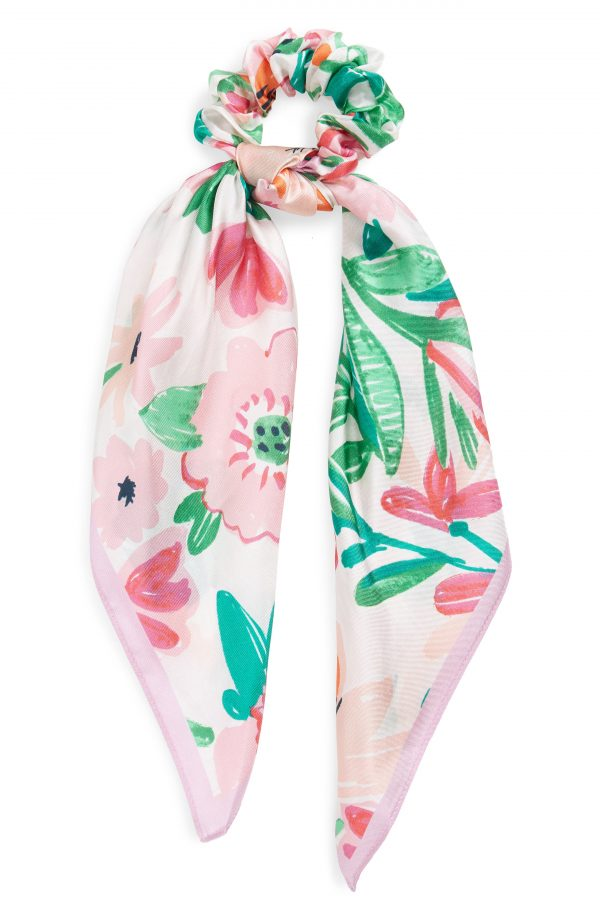 Kate Spade New York Full Bloom Silk Scarf Hair Tie, Size One Size - Pink
