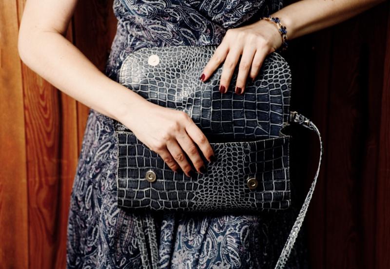 Lady Holding Crocodile Flap Bag Women's
