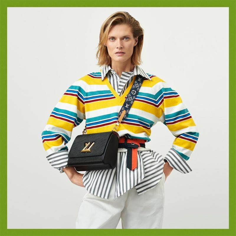Malgosia Bela appears in Louis Vuitton resort 2021 campaign.