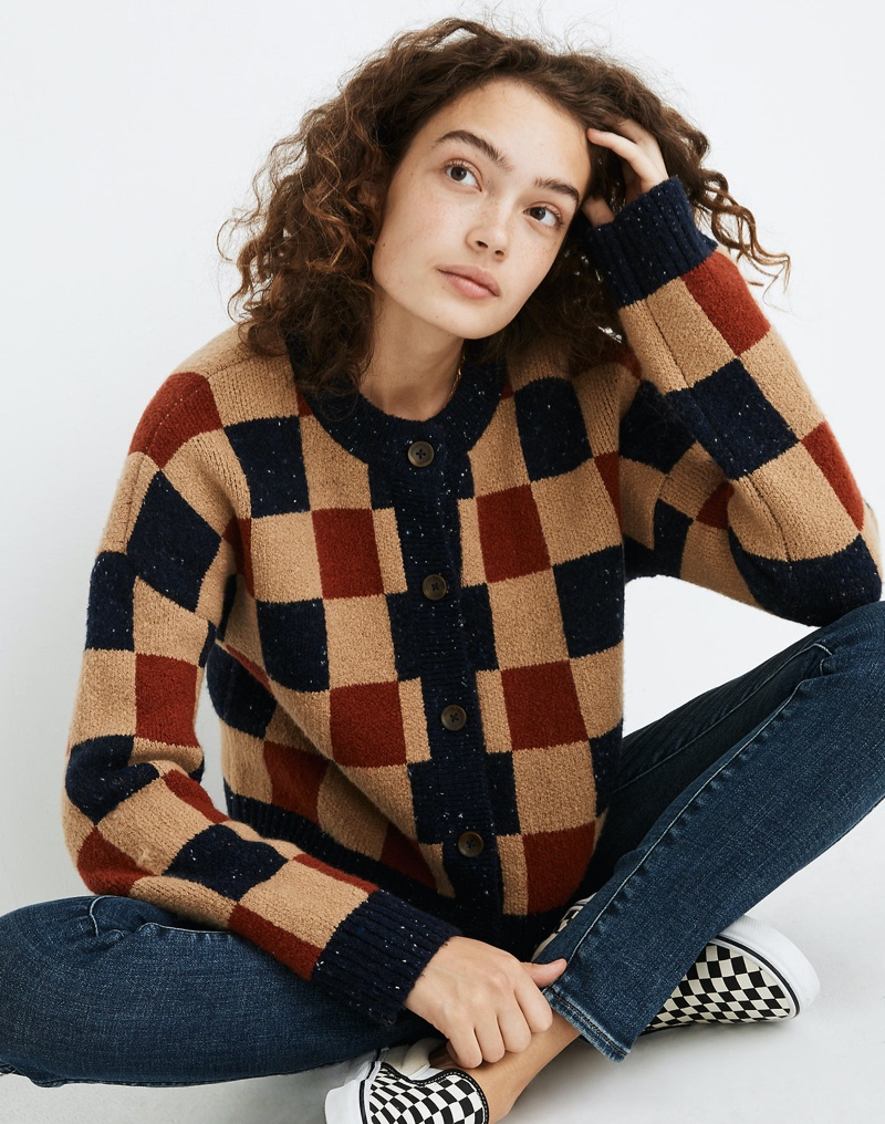 Madewell Checkered Colburne Cardigan Sweater $98