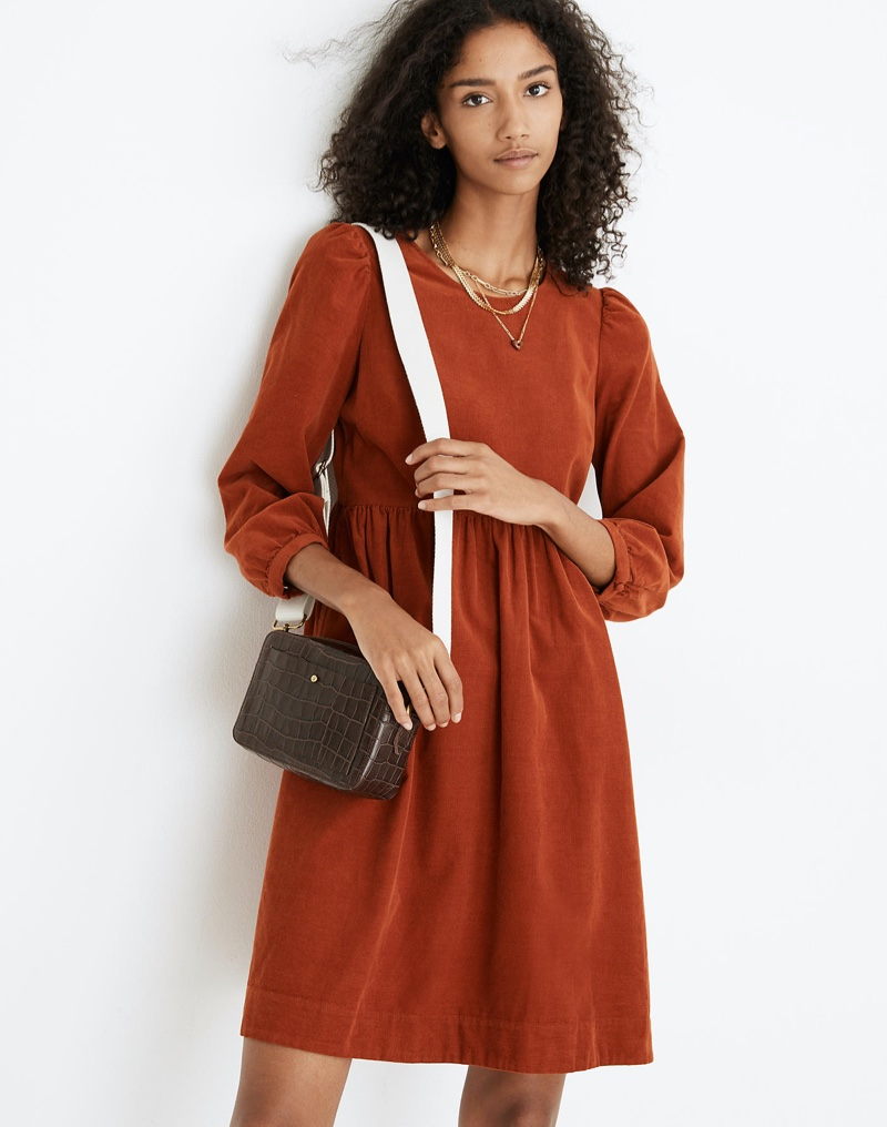 Madewell Corduroy Puff-Sleeve Mini Dress $118