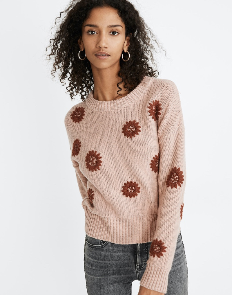 Madewell Floral Embroidered Pullover Sweater $110
