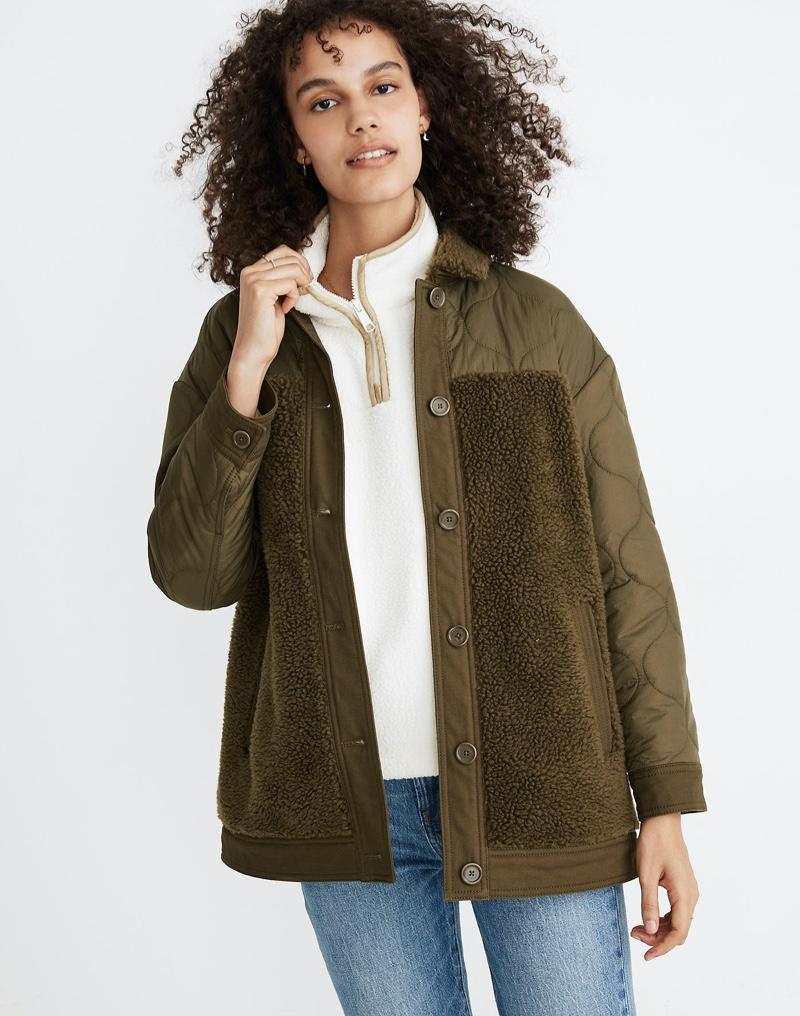 Madewell Hybrid Sherpa Jacket in Kale $175