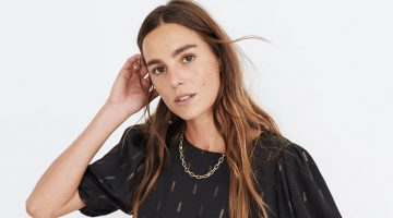 Madewell Metallic Jacquard Puff-Sleeve Top $78