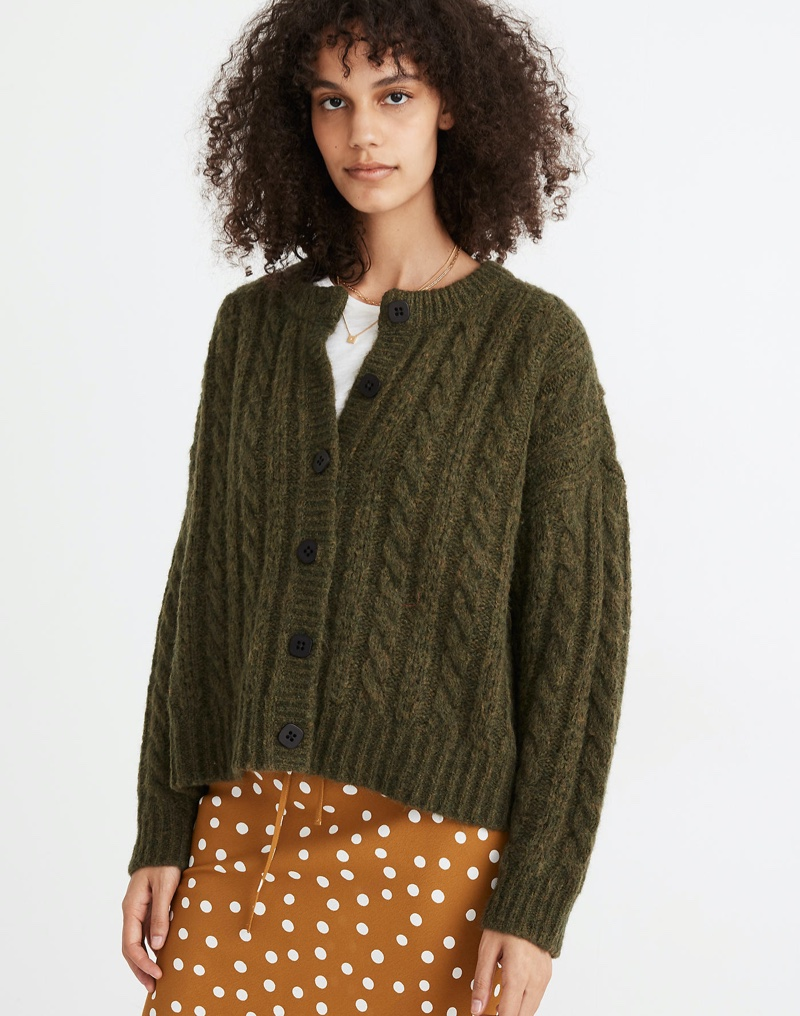 Madewell Pointelle Cable Cardigan Sweater in Heather Basil $110