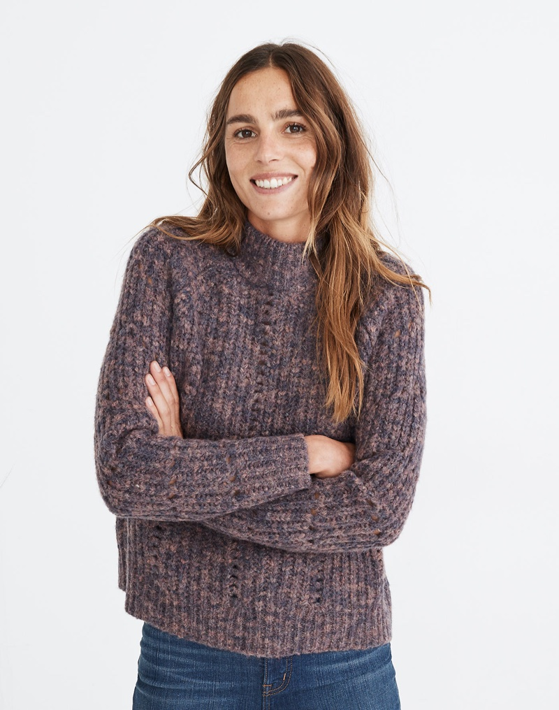 Madewell Pointelle Mockneck Pullover Sweater in Heather Eggplant $110