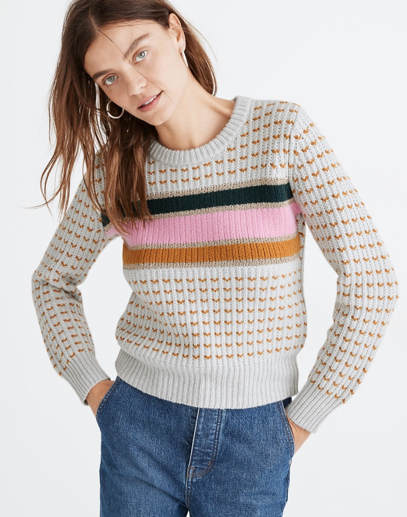 Madewell Striped Barfield Sweater $98