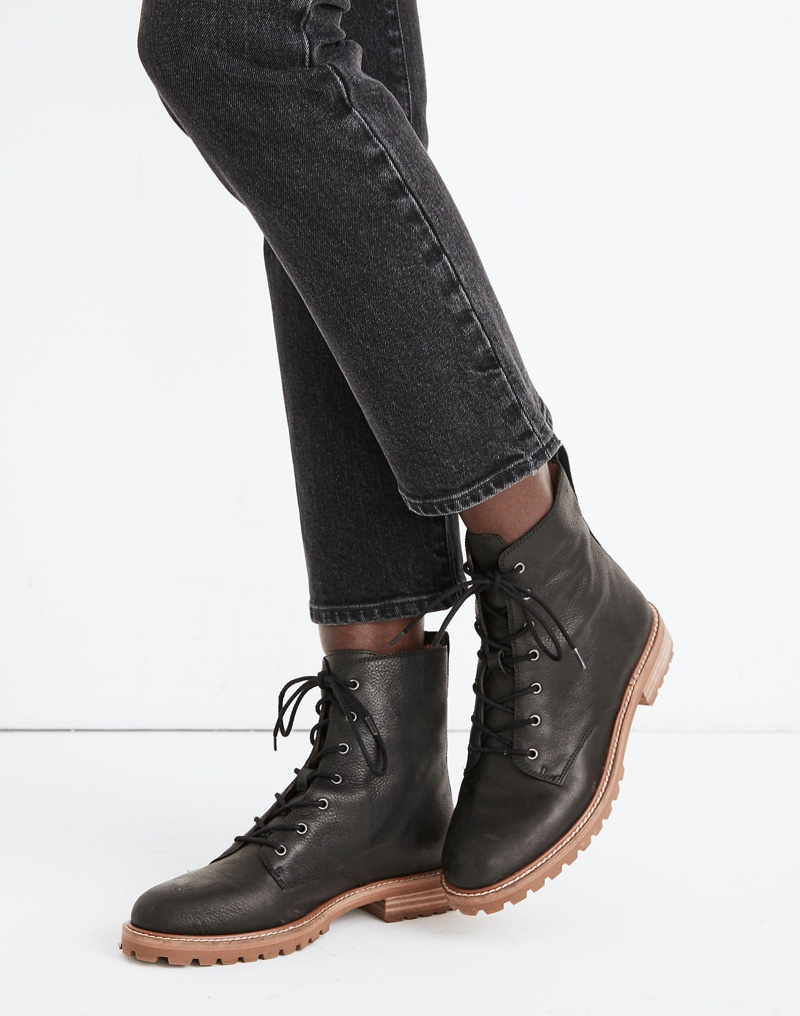 Madewell The Clair Lace-Up Boot in Leather - True Black $198