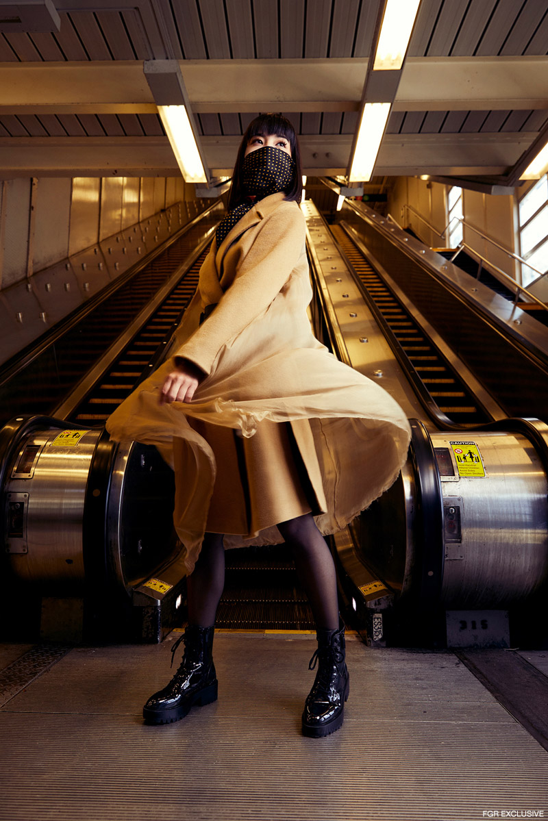 Scarf stylist's own, Camel Coat Mola Walker, Belt Pierre Antonio Gaspari, Tights Fogal and Boots Guess. Photo: Emily Teague