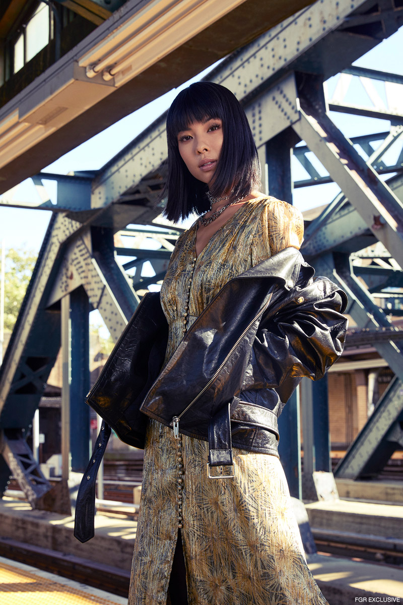 Rhinestone Lace Necklace Kenneth Jay Lane, Chain Necklace APM Monaco; and Leather Jacket and Dress The Kooples. Photo: Emily Teague