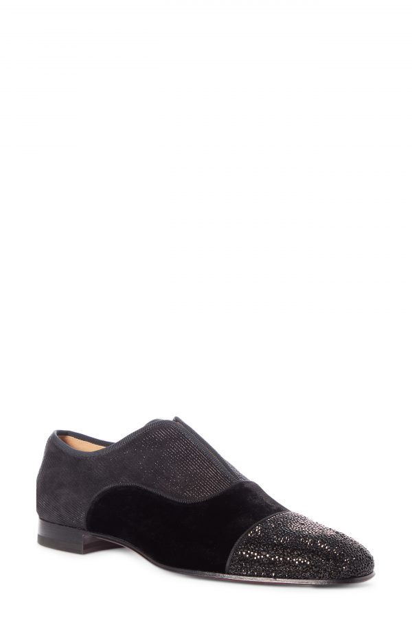 Men's Christian Louboutin Alpha Crystal Cap Toe Slip-On Oxford, Size 8US - Black