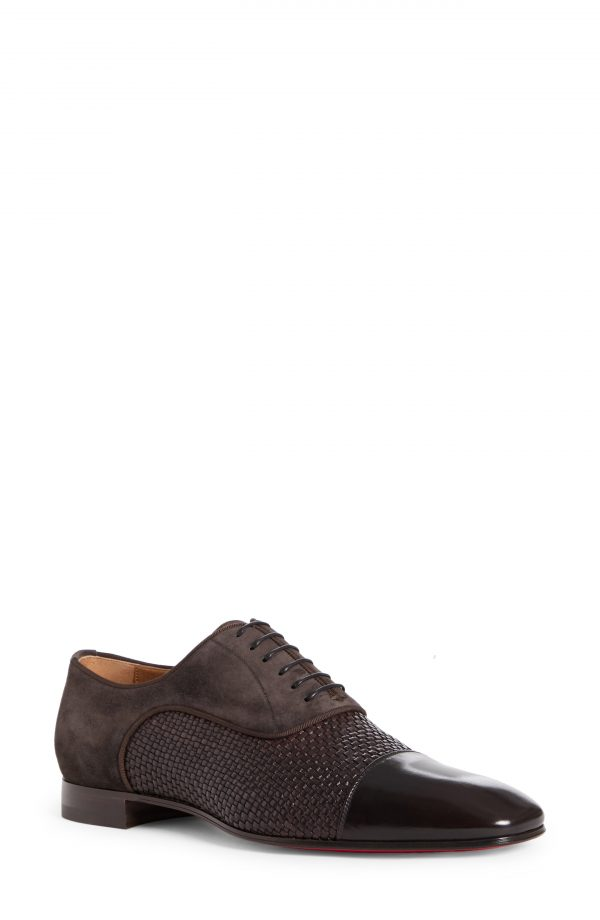 Men's Christian Louboutin Greggo Cap Toe Oxford, Size 8US - Brown