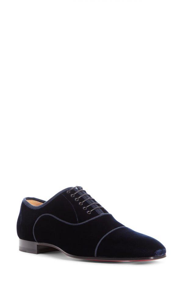 Men's Christian Louboutin Greggo Orlato Velvet Oxford, Size 12US - Blue