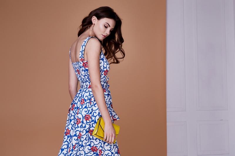 Model Blue Floral Print Dress Yellow Bag