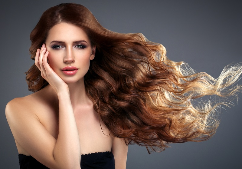 Model Long Dark Hair Wavy Beauty