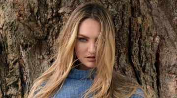 Candice Swanepoel wears Naked Cashmere Stacey sweater.