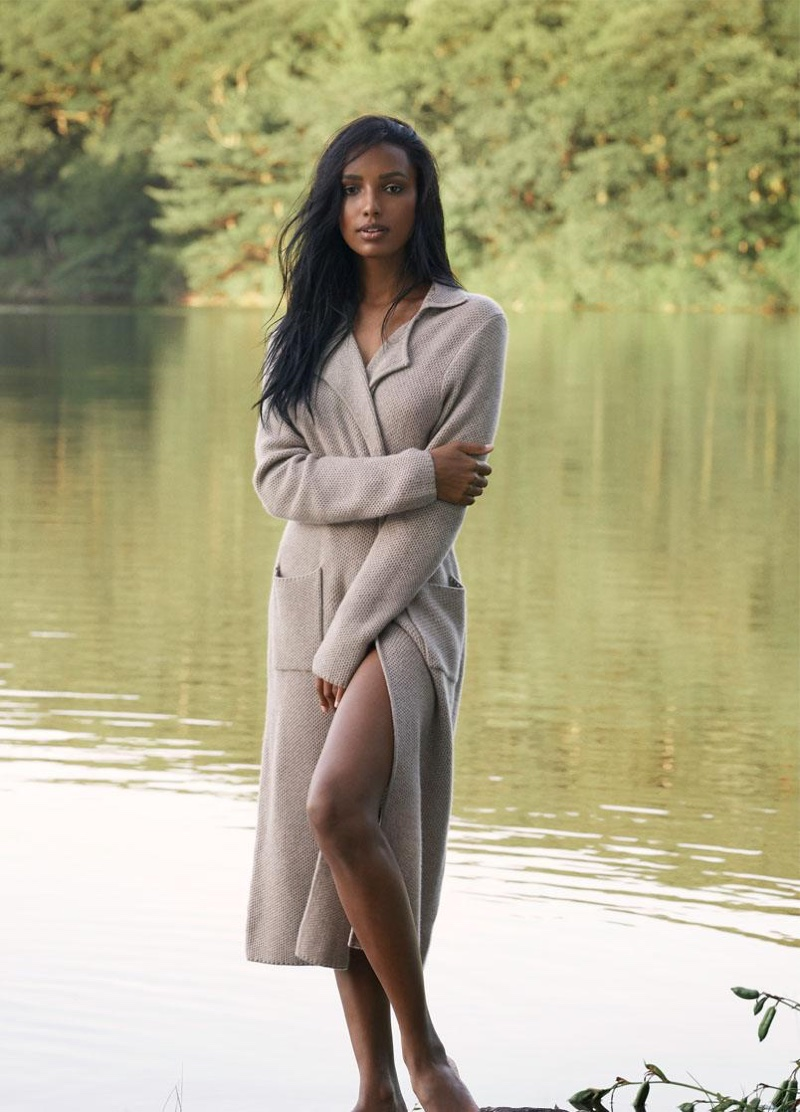 Jasmine Tookes wears Carolyn cardigan from Naked Cashmere.
