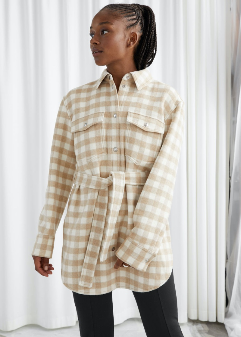 & Other Stories Oversized Belted Shirt Jacket in Beige Checks $179