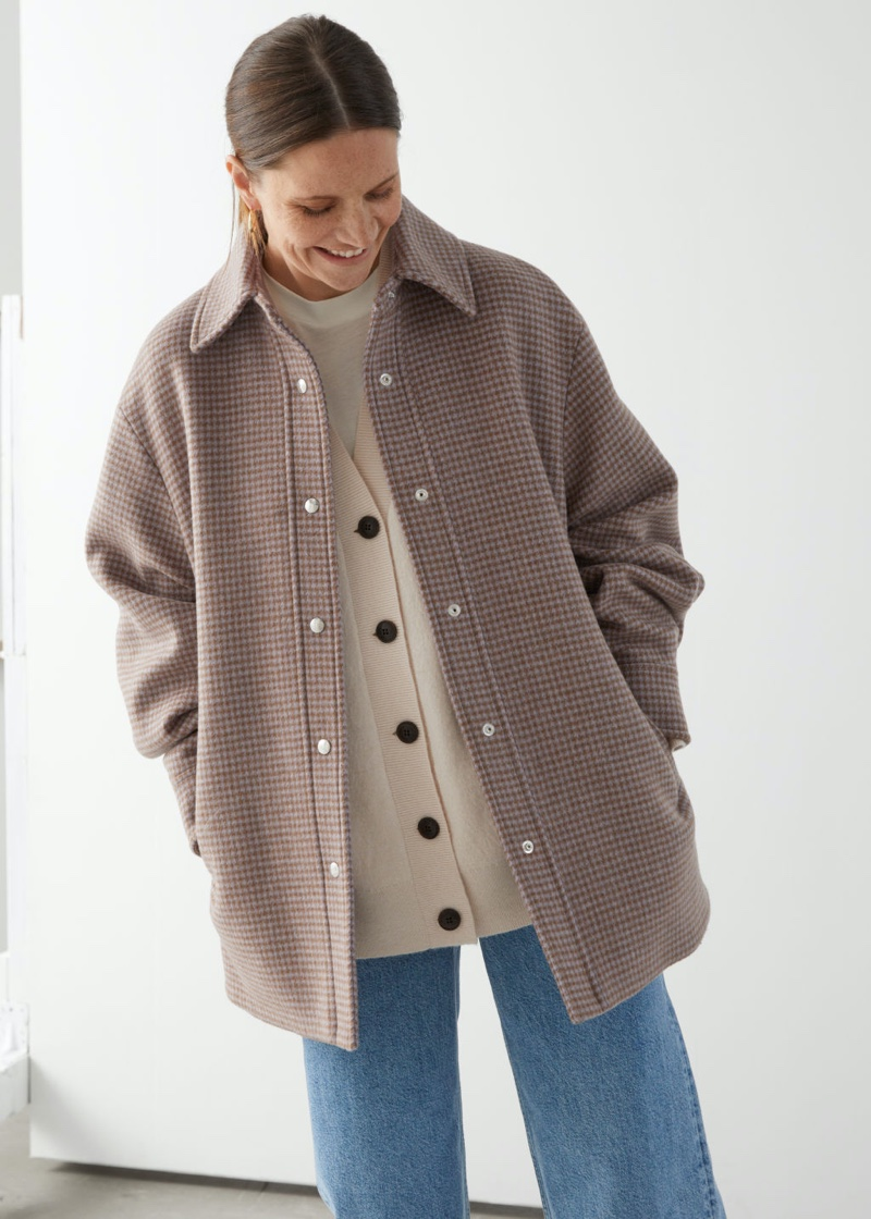 & Other Stories Oversized Shirt Jacket in Beige Checks $249
