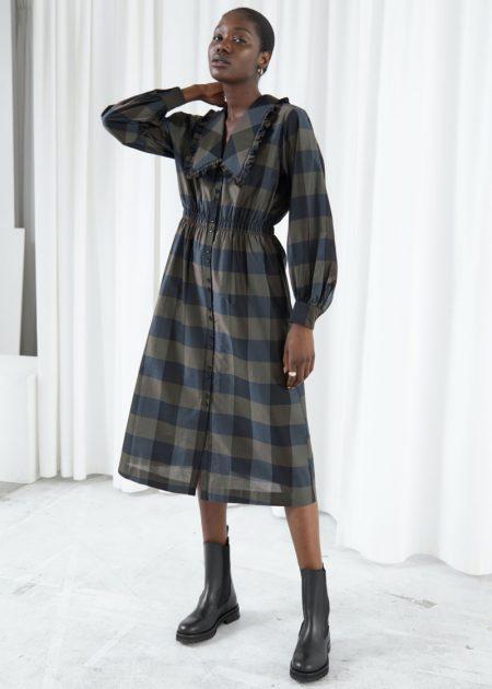 & Other Stories Voluminous A-Line Wide Collar Dress $129