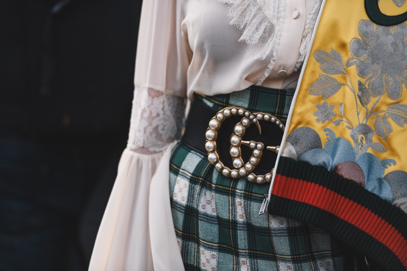 Pearl Gucci Belt Closeup Woman