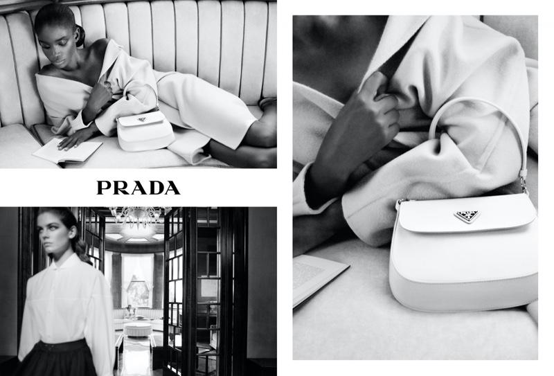 Maty Fall and Merlijne Schorren pose in Prada Holiday 2020 campaign.