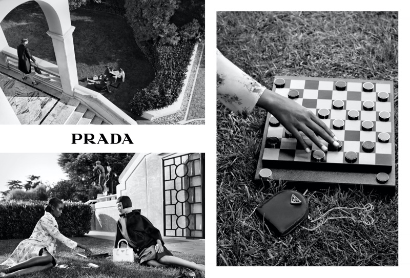 Maty Fall and Mao Xiaoxing appear in Prada Holiday 2020 campaign.