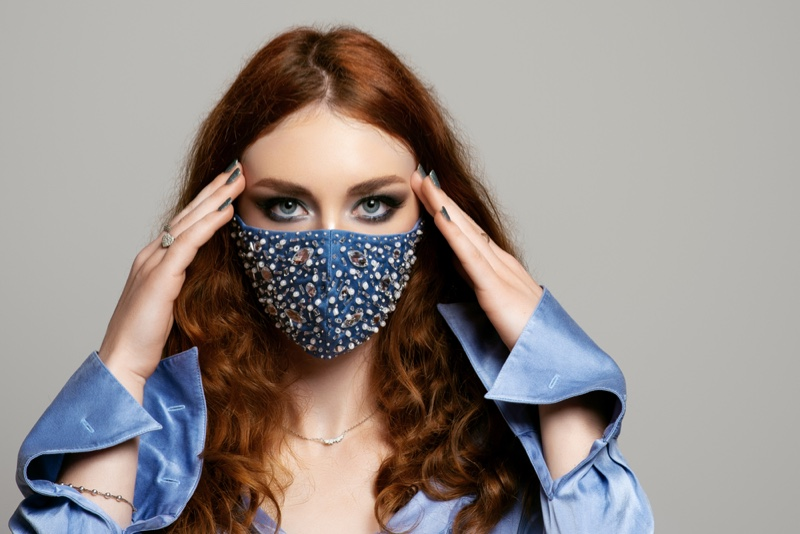 Redhead Woman Rhinestone Embellished Blue Mask