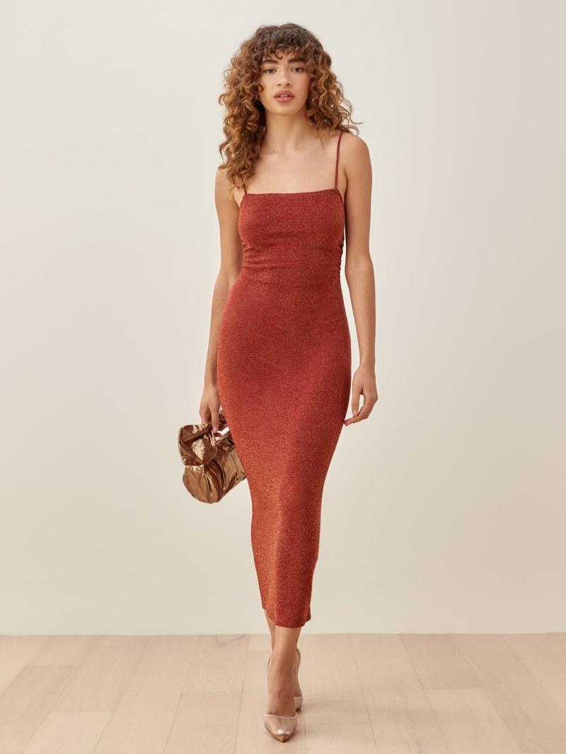Reformation Breslin Dress in Cinnamon Sparkle $178
