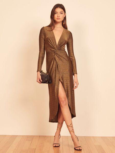 Reformation Carlyle Dress in Golden Shimmer $178