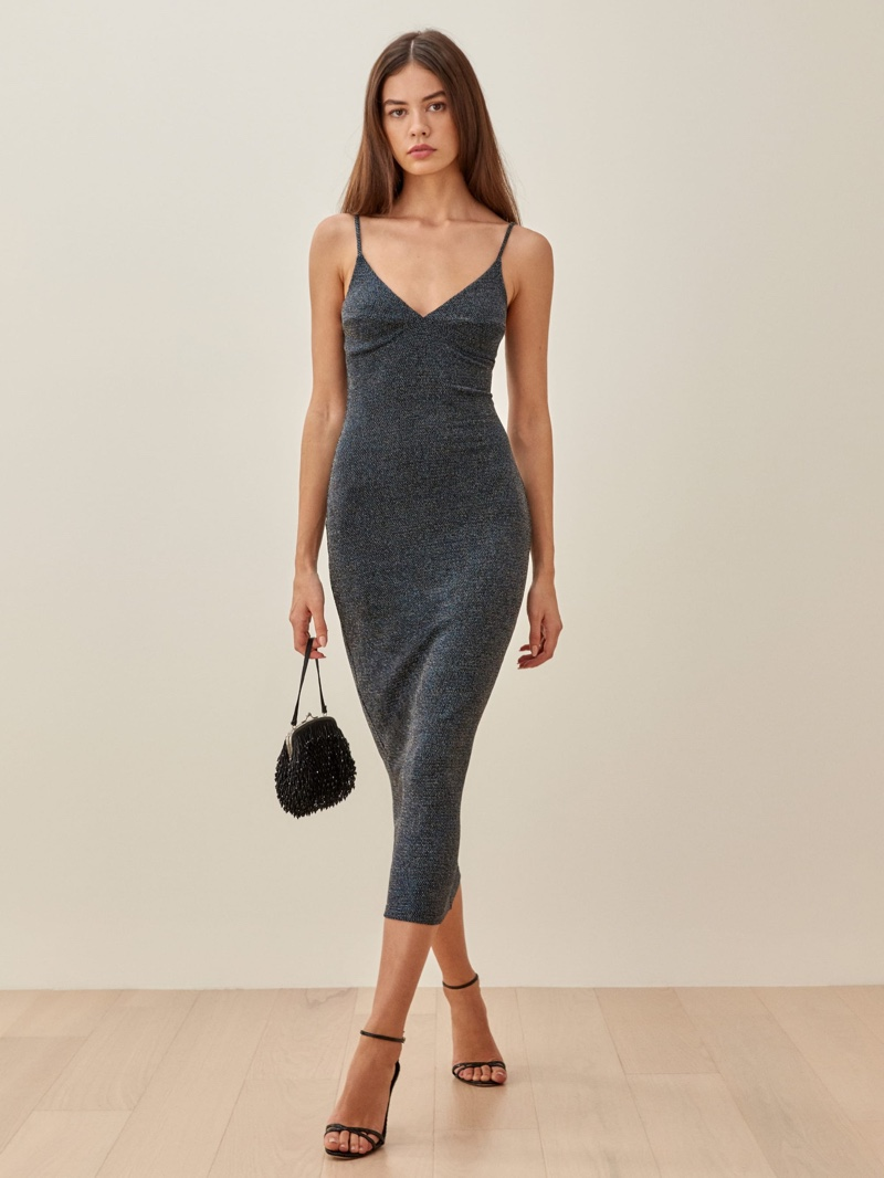 Reformation Disco Dress in Midnight Sparkle $148